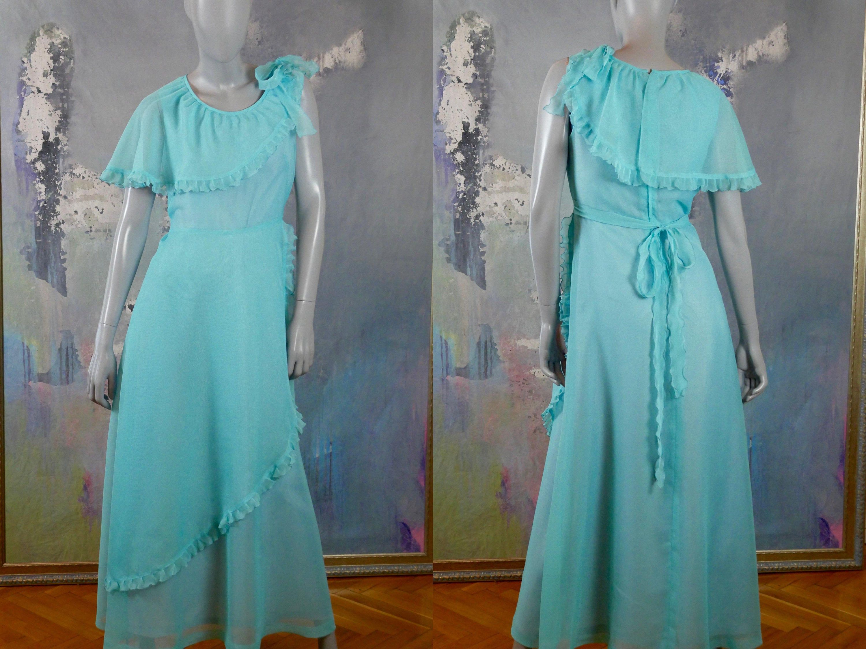 1970s Prom Dress French Vintage Aqua Turquoise Long Dress Etsy Turquoise Prom Dresses 1970s Prom Dress Vintage Clothes Women [ 2250 x 3000 Pixel ]