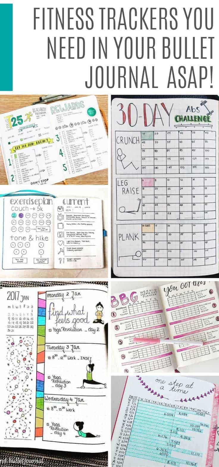 Bullet Journal Fitness Trackers (Finally get fit in 2020!},  #Bullet #Finally #fit #Fitness #Journal...