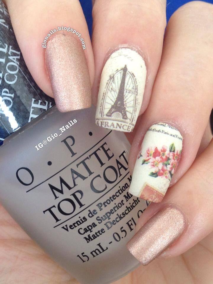 pink matte eiffel tower nails   Nails   Pinterest   Diseños de uñas ...