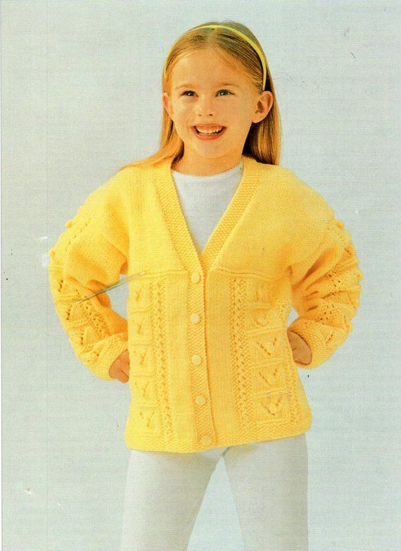 Childrens Cardigan Knitting Pattern Pdf Download Girls V Neck