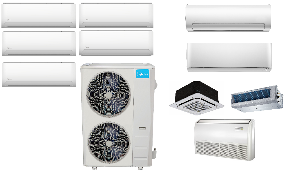 Midea 5 Zone Ductless In Minisplitwarehouse Com Lowest Price On Best Ac Units M Heat Pump Air Conditioner Air Conditioner Brands Air Conditioning Installation