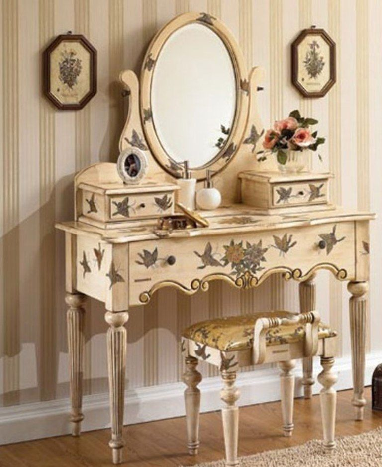 Hand painted bedroom vanity set home furniture and for Vanity table set