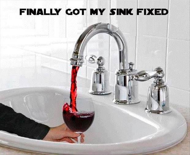 Finally Got My Sink Fixed ... and I\'ve saved water. | red wine | DIY ...