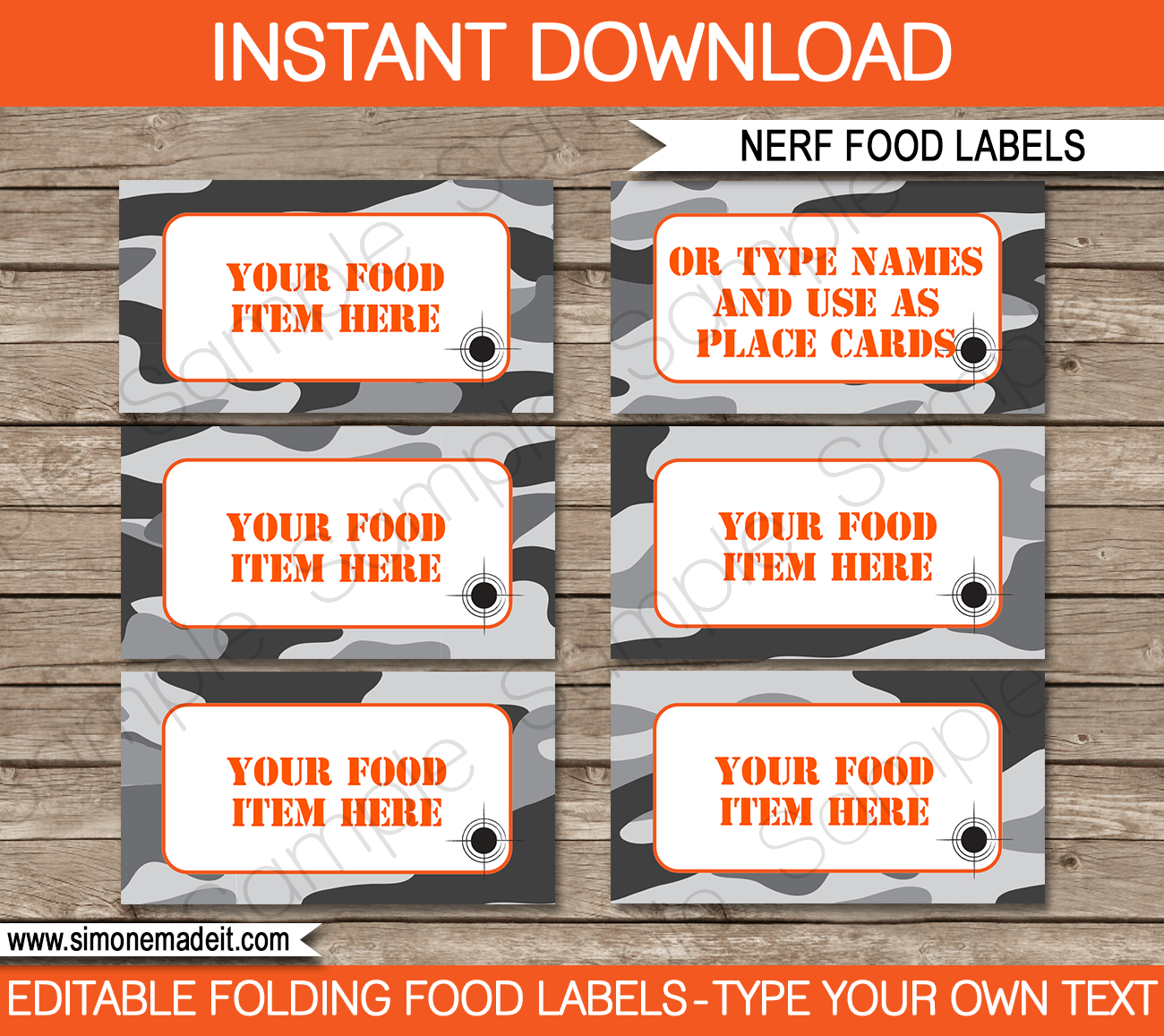 nerf party food labels template gray camo in 2018 nerf party