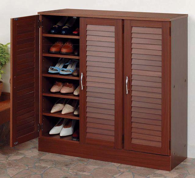 wooden wide louver door shoes rack long