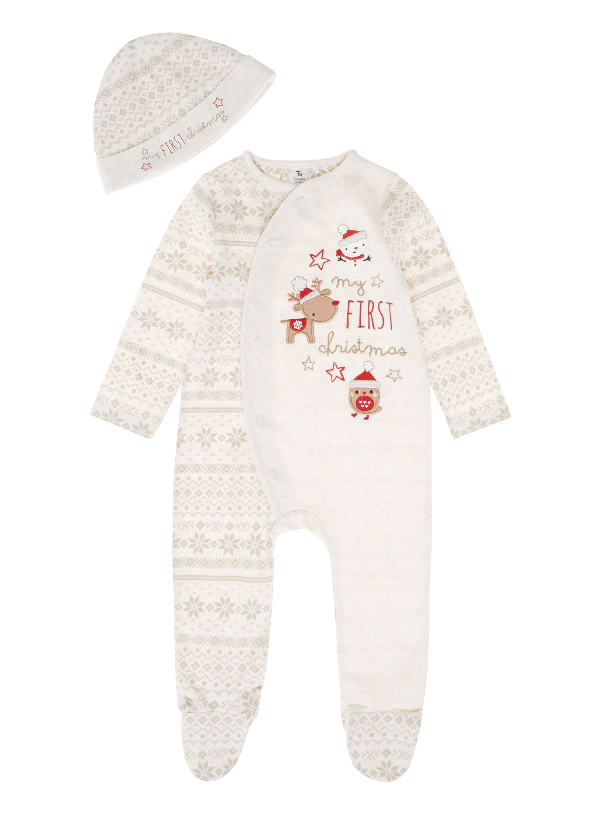 3989d9b8aa35 Baby Unisex Cream First Christmas Sleepsuit (0-24 months)