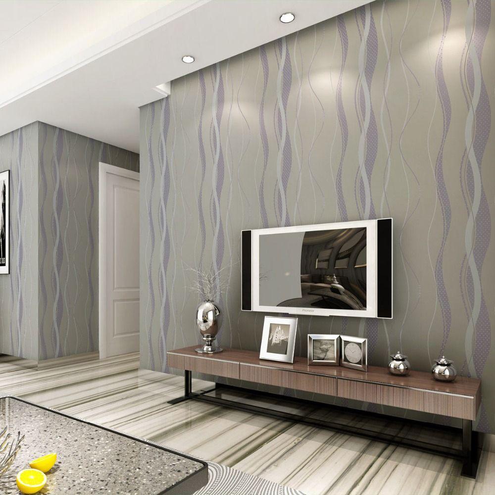 L neas de onda de rayas papel pintado moderno gris - Dormitorios pintados a rayas ...