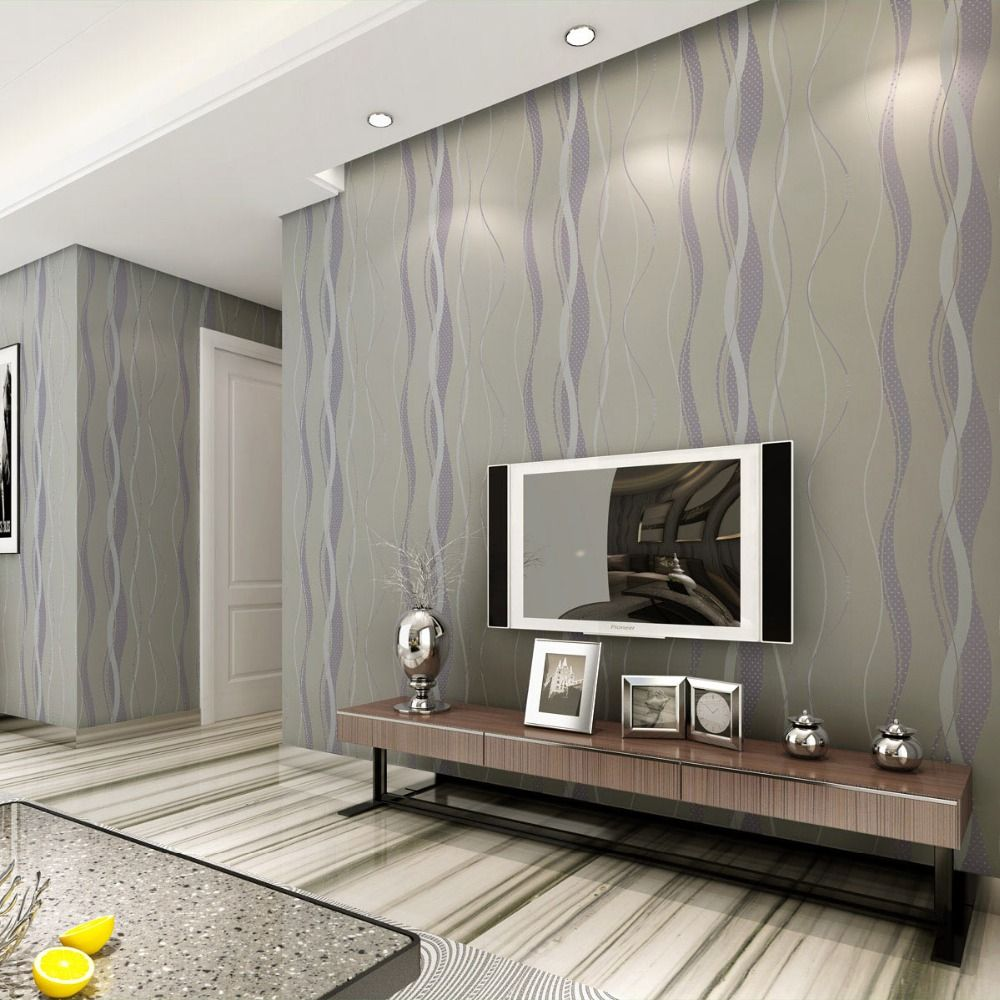 L neas de onda de rayas papel pintado moderno gris - Papel pintado salones modernos ...