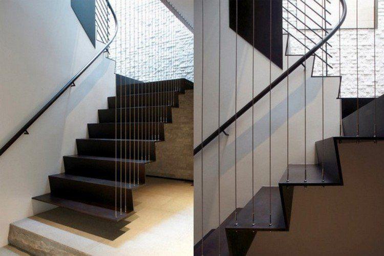 Schwarze stahltreppen stahlseil gel nder modern stairs architektur pinterest treppe - Treppen architektur ...