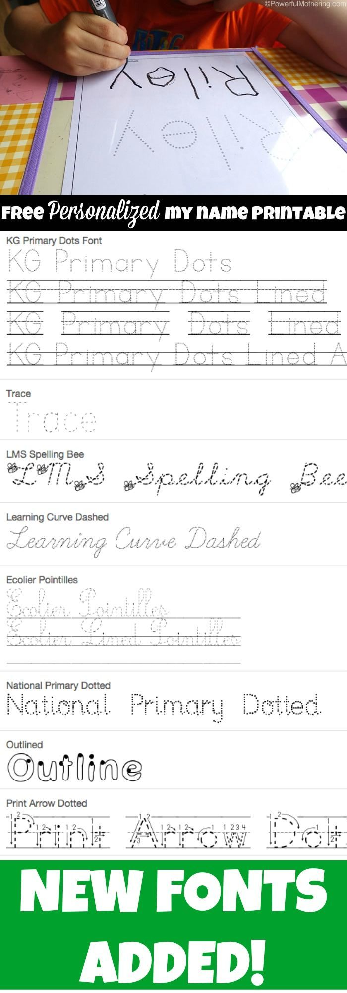 free name tracing worksheet printable font choices improve handwriting and kids learning. Black Bedroom Furniture Sets. Home Design Ideas