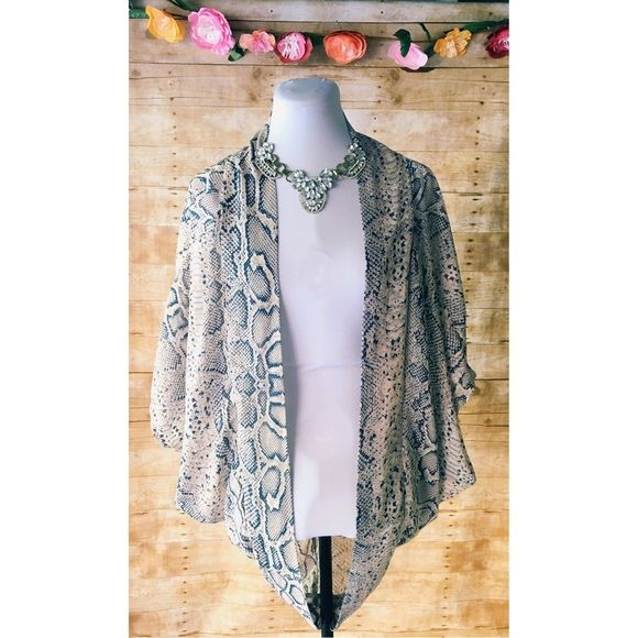 Stylish Snakeskin Print Sheer Kimono Super trendy, cream kimono in a snakeskin print in various blues. In excellent condition! Cotton On Tops