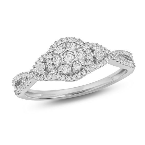 1 4 Ct T W Composite Diamond Frame Twist Promise Ring In 10k White Gold Products Promise Rings Rings Diamond Promise Rings