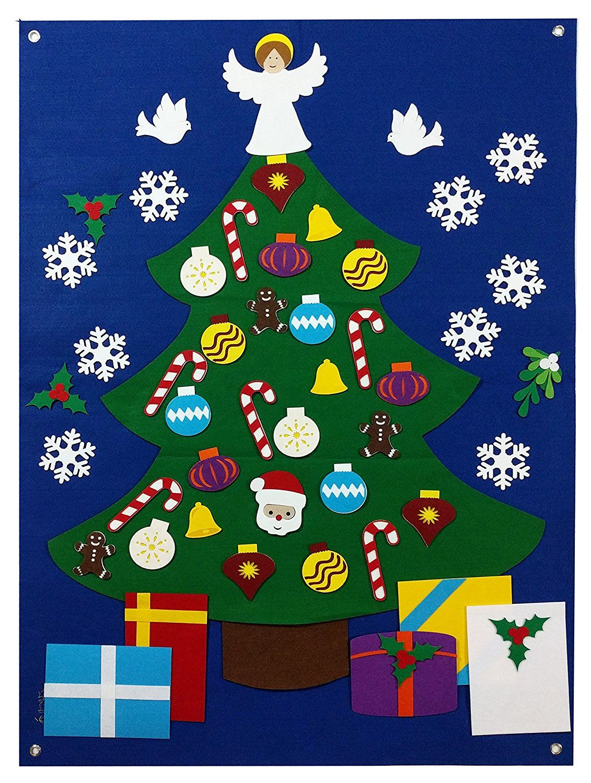 Amazon Com Felt Christmas Tree Wall Decoration Set Flannel Storyboard Giant 3 5 Ft Premium Quality Hand Felt Ornaments Christmas Trees For Kids Felt Christmas