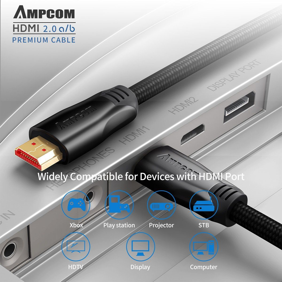 6ft Hdmi Cable Ampcom Zinc Alloy Shell Cotton Braided 24k Gold Plated Hdmi To Hdmi Cord Compatible With Hdmi 2 0a B 2 0 1 4a Ul Hdmi Hdmi Cables Hdmi Cord