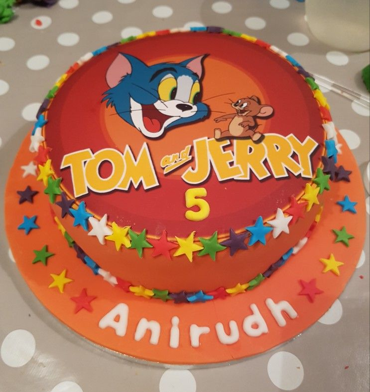 Tom And Jerry Cake Made To Match Partyware Buttercream With