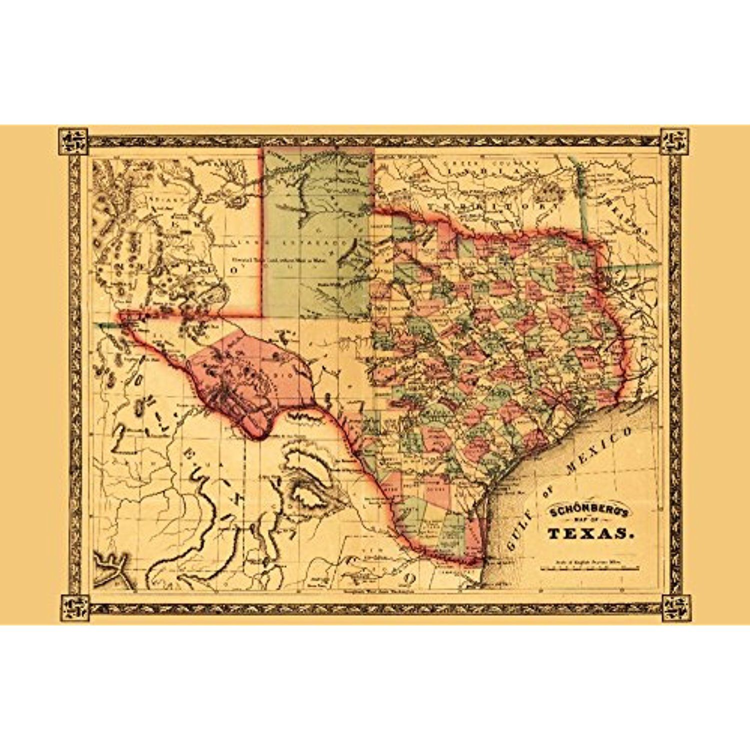 Texas - Panoramic Map (12x18 SIGNED Print Master Art Print w ...