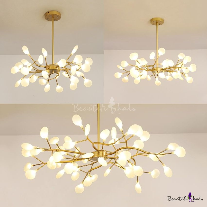 Fashion Branch Chandelier 30 45 54 Lights Acrylic Metal Pendant Light In Gold For Cloth Shop Metal Pendant Light Branch Chandelier Metal Hanging Lights