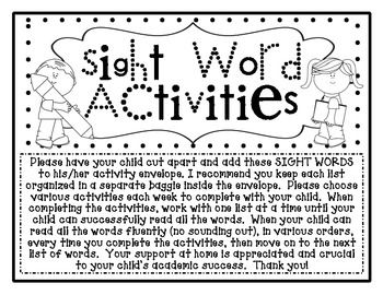 Sight Word Kindergarten Homework Activities Envelope