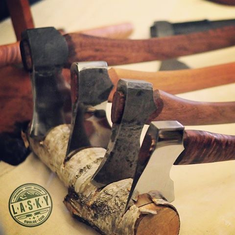 My axes on Warsaw Knife Show 2016. Photo credit lasky.ownlog.com #axe #axemaking #tomahawk #handmade #handforged #bushcraft #campaxe #papstomahawks #axes #custom #polishknifemakers