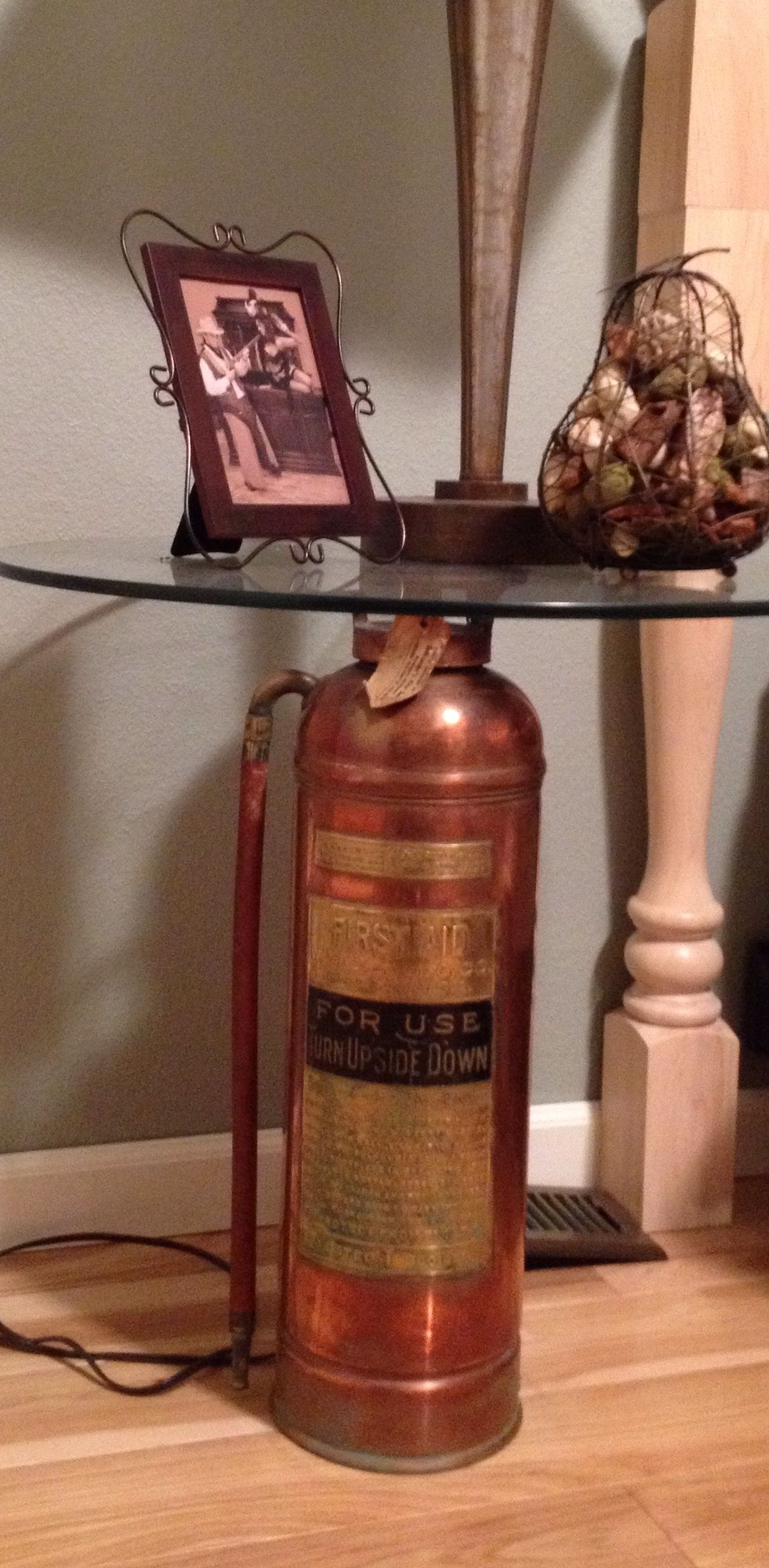 Firefighter Living Room Decor: A Great Idea For A Side Table. Take A 1920s Solid Copper