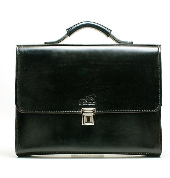 Classic Black Highest Quality Leather briefcase by FeltSilkArtGift
