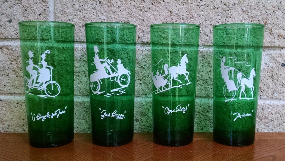 """Set of 6 Anchor Hocking Forest Green Sandwich Juice Glasses  3 1//2/"""" Tall XLNT"""