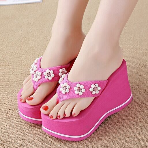 af9ad74009f4 Women s Summer Flip Flops Wedges Sandals High Heels Platform Pumps Beach  Shoes