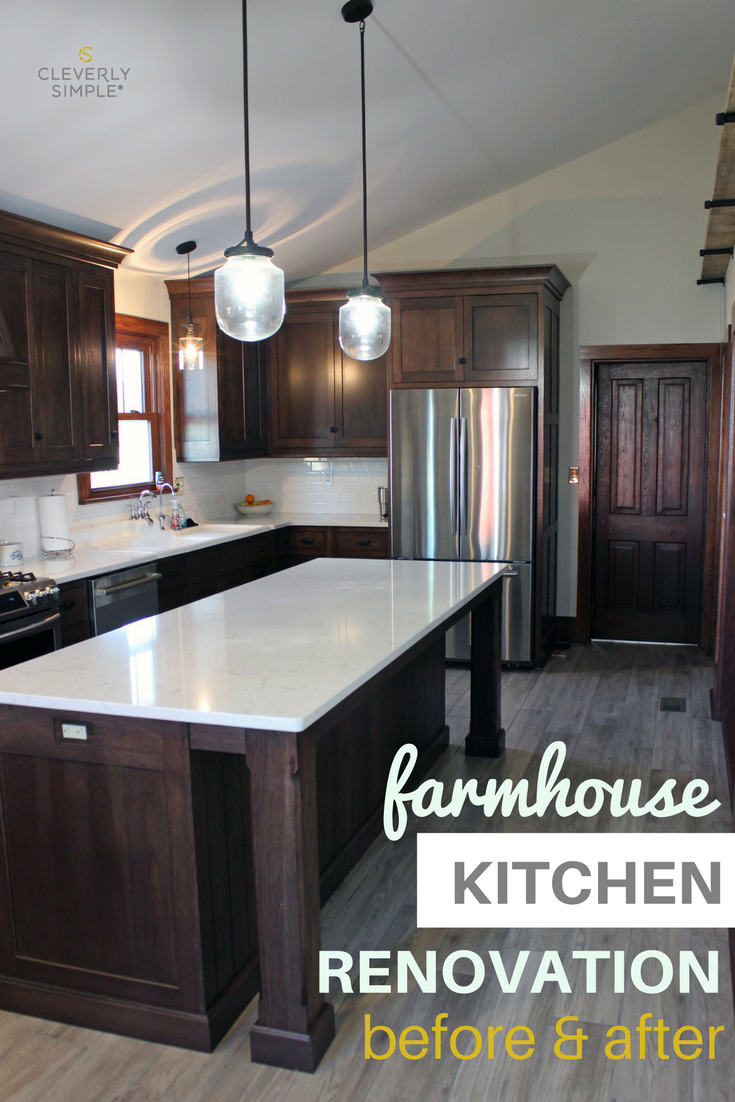 See The Before And After Pictures Of This Farmhouse Kitchen Renovation With Dark Wood Cabin Dark Kitchen Cabinets Dark Wood Kitchen Cabinets Kitchen Renovation