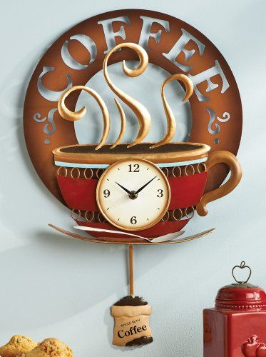 Collections Etc   Hot Coffee Cup Decorative Kitchen Wall Clock Collections  Etc,http:/