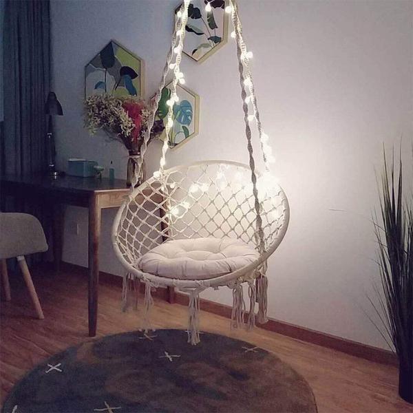 Sonyabecca Macrame Hammock Chair with LED