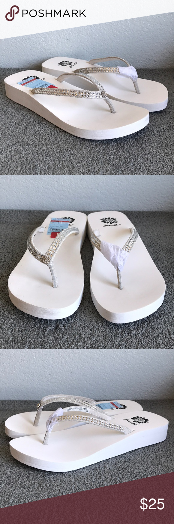 9b3d075b5bbf48 Yellow Box Jello White Wedge Sandals New in box. Yellow Box Women s wedge  sandal flip flops in size 8. Jeweled And Rhinestone. Very pretty.