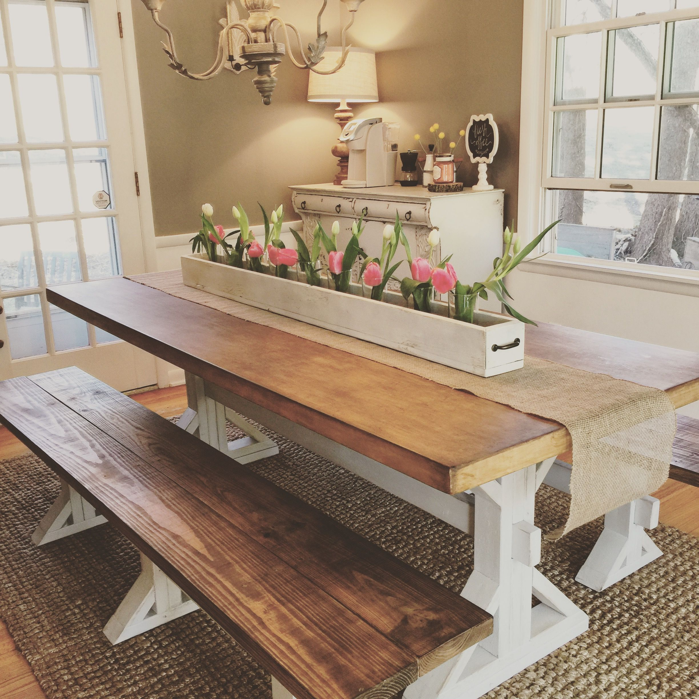 Superb Custom Built 7 Ft Diy Farmhouse Dining Table And Bench Along Pabps2019 Chair Design Images Pabps2019Com