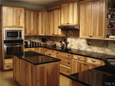 Pine Kitchen Island Copper Countertops What Countertop Would Look Good With Hickory Cabinets ...