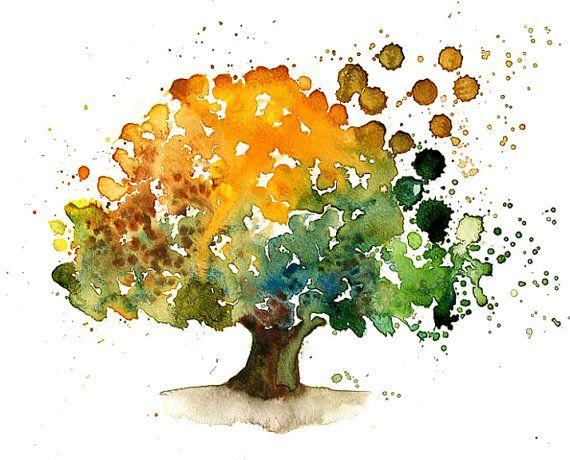 Gluckliche Baum Landschaft Malerei Aquarell Orange Von Ireart