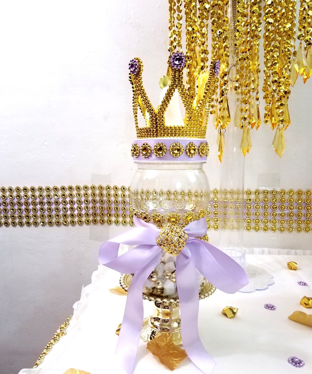 Large Baby Bottle Decoration Crown Lavender And Gold Baby Shower Large Bottle Centerpiece For