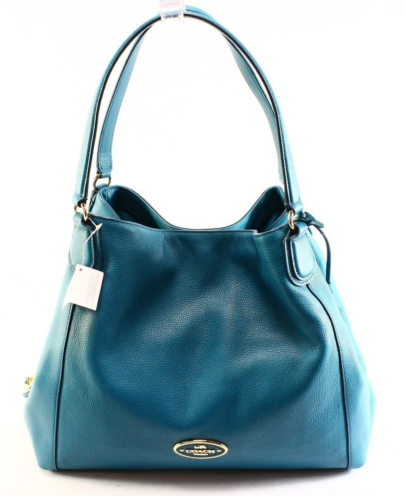 Coach New Blue Teal Pebble Leather Edie Medium Shoulder Handbag