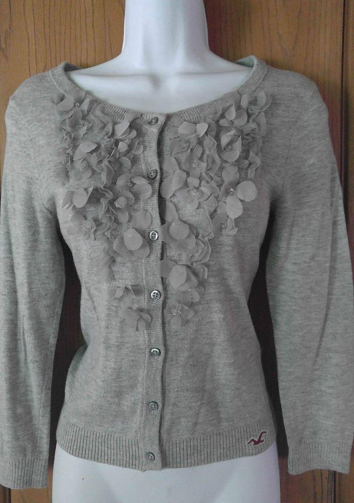 Gray 3D Flower Floral Hollister 3/4 Sleeve Button Down Cardigan ...