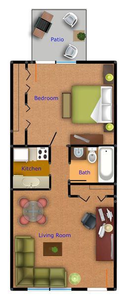 Medium One Bedroom Apartment Floor Plans Evergreen Terrace