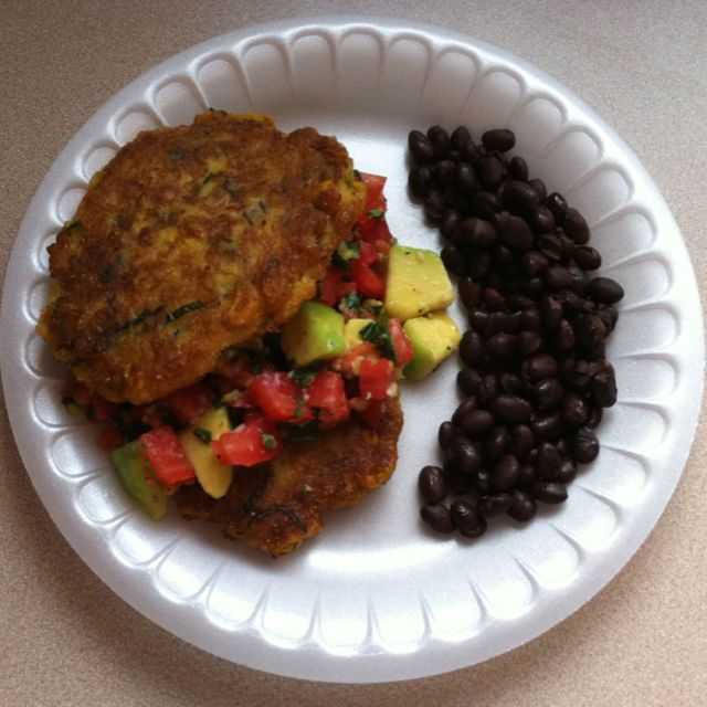 ) Summer Corn Cakes with Chopped Tomato & Avocado Salsa and Black ...