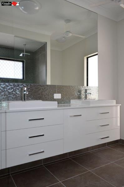 White Ensuite Bathroom Vanity With Metallic Splashback And Large Simple Large Bathroom Vanity Mirrors Inspiration