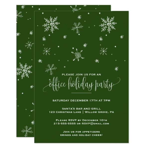 Green snowflake office holiday party card custom office party green snowflake office holiday party card custom office party invitations office partyplanning stopboris Choice Image