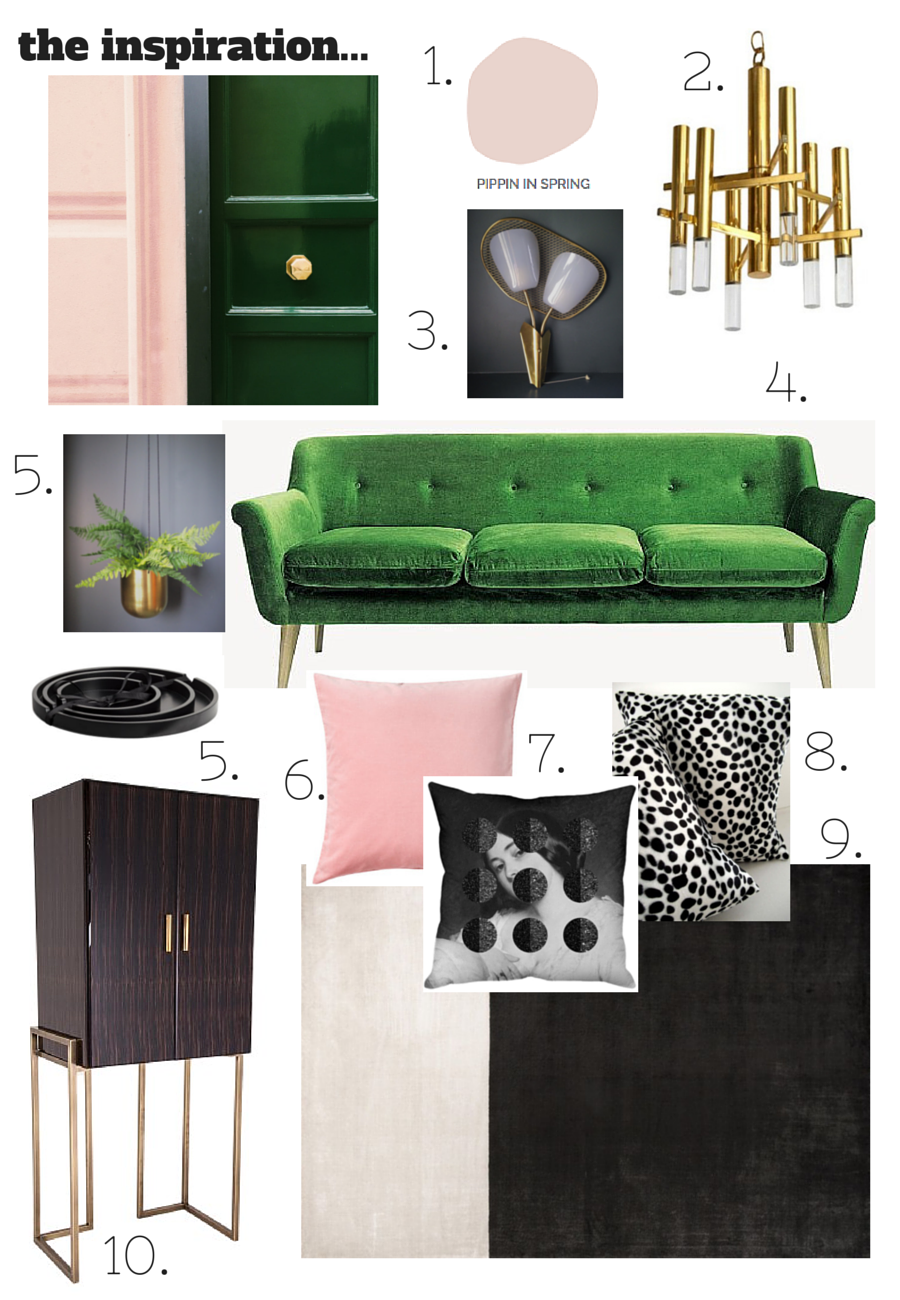 A colour palette of Blush Pink, Emerald green and brass, inspired by ...