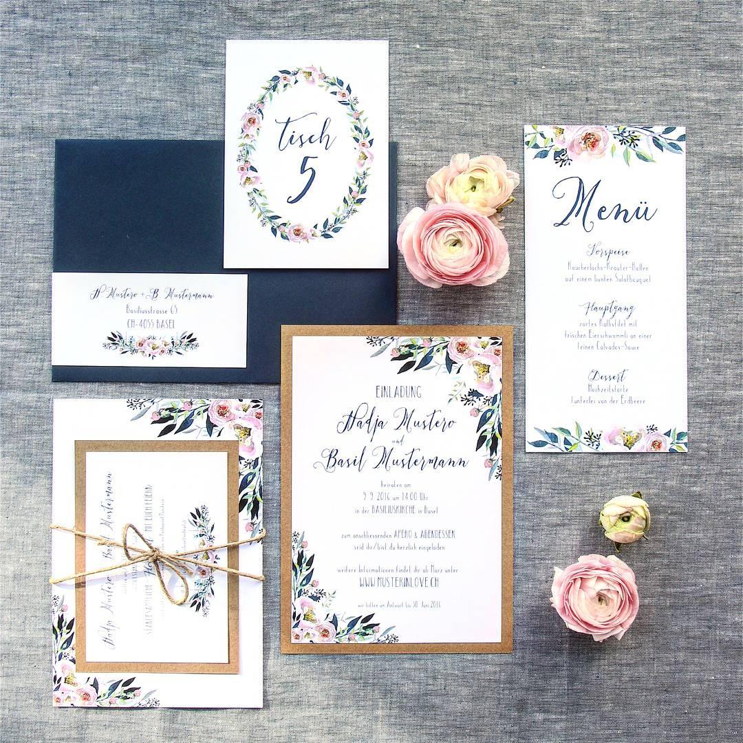 Kraftpapier Rustikale Hochzeit Basel Einladungskarten Hochzeitskarten  Blumig Blumenecken Juteband Blau Und Rosa