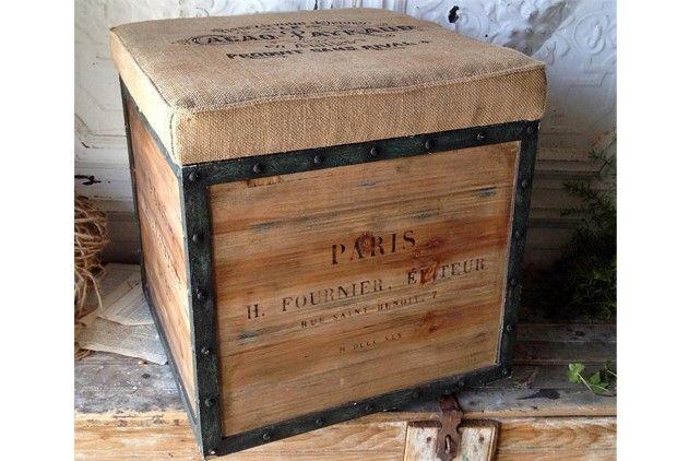 Metal, Wood & Burlap Crate Seat | Estilo industrial, Industrial y Estilo