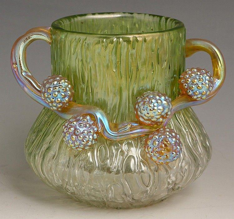 Loetz Golden Green Ausfuhrung 81 Art Glass Vase Art Glass Vase By