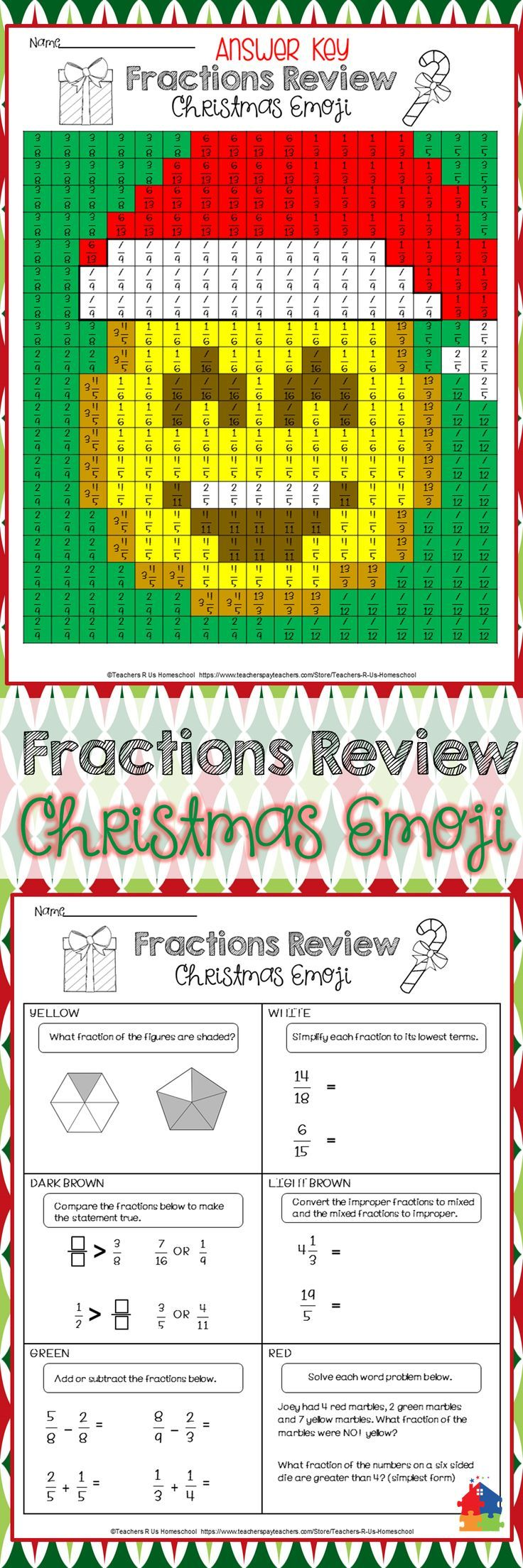 get your class in the holiday spirit with this no prep activity which reviews fractions in