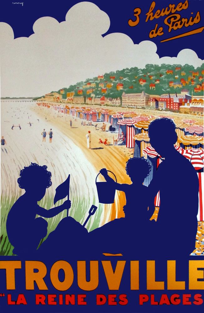 vintage retro #travel poster framed canvas print trouville