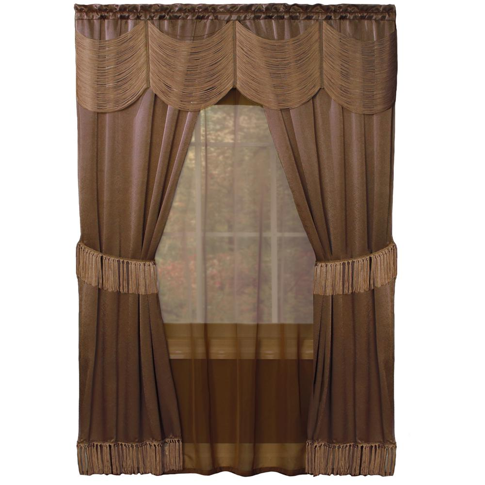 Achim halley taupe brown window curtain set in w x in l