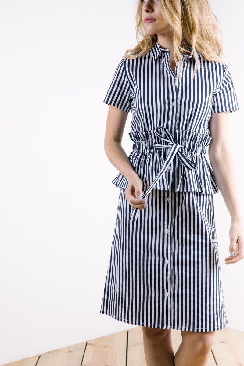 The button down peplum striped dress in navy m i s s i o n