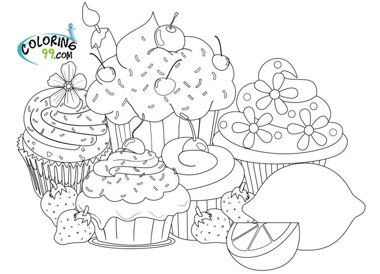 Cupcake Coloring Pages Images Kawaii Cupcake Coloring Page In Cartoon Coloring Style Coloring Image Cupcake Coloring Pages Food Coloring Pages Coloring Pages